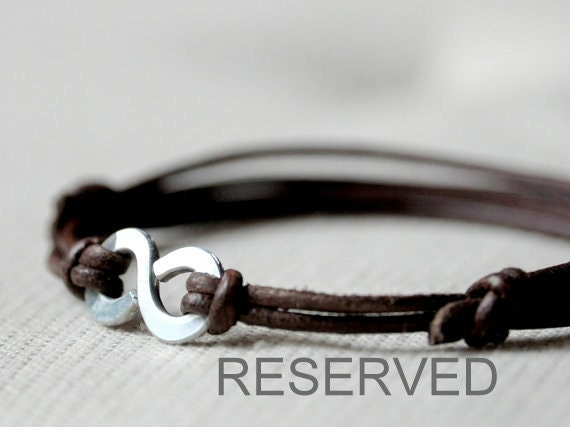 RESERVED for Valeria - Infinity Bracelet - Brown leather and Aluminium wire