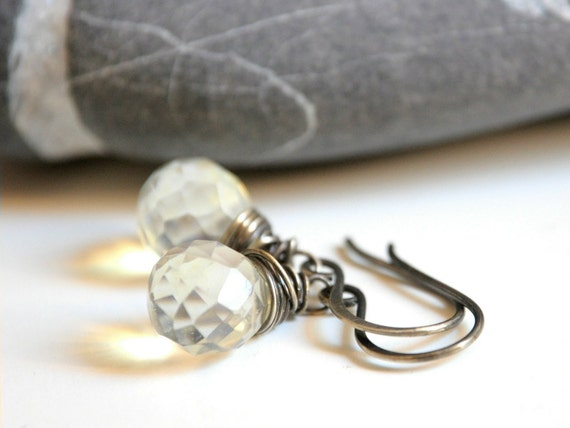 Silver Earrings - Oxidized sterling silver and Czech Glass pale citrine yellow teardrop beads - ready to ship