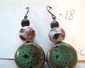 Green Ceramic and Cloisonne Earrings