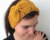 Mustard  Hand Knit Flapper  Headband with BOW ,Vintage Look Birthday  Teenager back to School Girl winter fall autumn fashion accessories