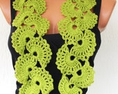 Women  Crochet  Scarf -  Lace Scarf  in  Lime Green-Seashell Scarf -  Lace  Spring Summer  accessories  Mother 's Day Gift women