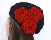 Hand Knit Hat -Red fashion -  Victorian  Hat black with  trio red  flower  - cap - womens hat- Winter Accessories-