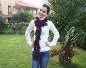 Crochet Scarf- Purple Mulberry Scarf  spring scarf  Christmas Gift  Womens Scarf   Winter Fashion  Accessories-Holiday Gift