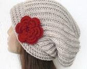 Hand Knit Hat  Winter Hat  Womens hat  Handmade  Slouchy Hat  Beanie Hat Fall Autumn Winter  Fashion Accessories  beige hat  with red flower
