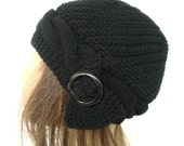 Women's Knit Hat - Hand Knit Hat -   Cloche Hat  in Black  with black  buckle  -   Winter Accessories Fashion