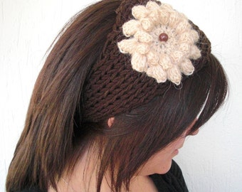 boho headband knit Headband  Ear Warmer   Headband Winter  Headband  With Flower  Boho  accessories   Womens Headband    Teenager