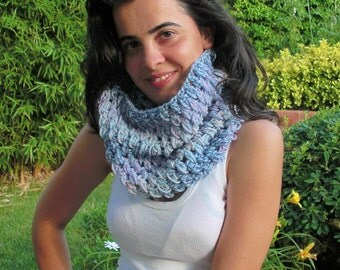 Cowl Scarf Oversized Crochet Loop Scarf Women  Scarf  Clothing Gift for her  Chunky cowl scarf Variegated yarn fashion- Women Accessories