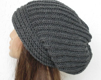 Women Knit Winter Hat - Knit Hat - Slouchy Beanie - Gray  Hat  Oversized  Slouchy Hat  Gift for her  Women Hat - Womens Gift Chunky Knit
