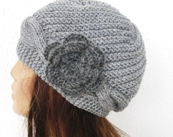 Knit Cloche hat Winter Hat Women hat Cable Knit Hat mothers day from daughter  Winter Accessories Silver Gray Hat Hat with Flower