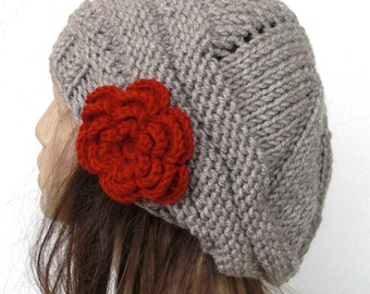 Hand Knit  Womens Hat -  chunky Thick  knit  Tam  beret in beige with red  flower - Slouch Beanie  Womens Gift -  Winter Accessories Fashion