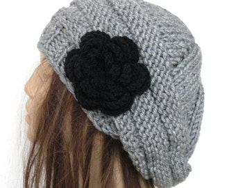 Hand Knit  Womens Hat -  chunky knit Beehive beret in  Silver Gray     flower  Slouch beret   Fall Autumn Winter Accessories   Fashion