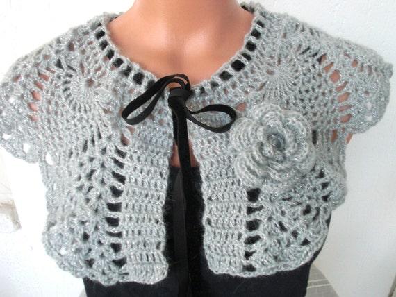 Crochet shabby chic  Wedding Bridal Shrug  Capelet  Bridal  Capelet  Bridesmaide Capelet   Accessories Fashion Lace Shrug- Silver Gray Rose