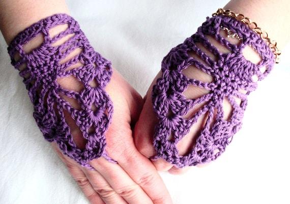 Crochet fingerless gloves -Steampunk  Lace fingerless gloves Victorian Wedding  Bride  Bridesmaide Purple Hippie   Teen Spring Fashion