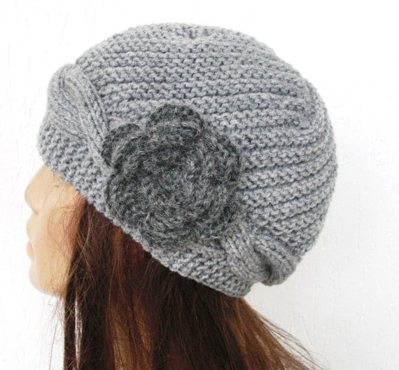 Knit Cloche hat Winter Hat Women hat Cable knit Hat Knit Hats knit hats  gift for her Winter Accessories Silver Gray Hat Hat with Flower
