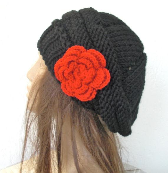 Women Hat -  Knit Hat - Winter Hat - Women Beret -  Black  Hat   -   Winter Accessories - women accessories Mother Day Handmade  Hats
