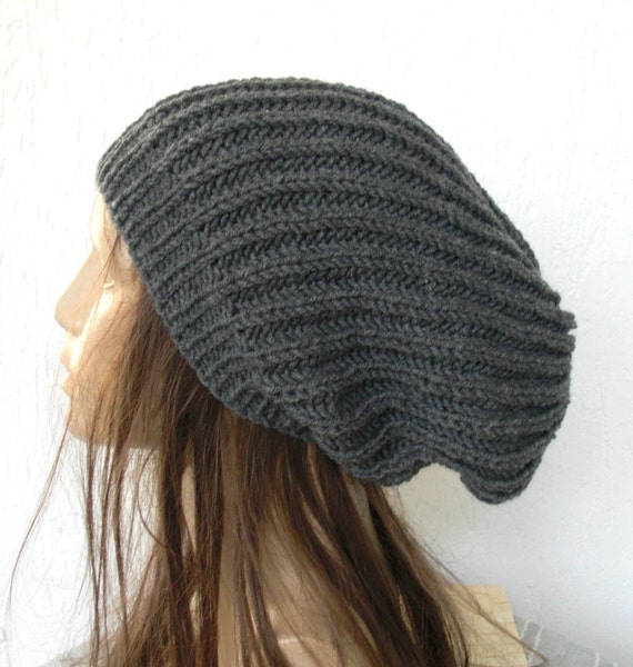 Hand Knit Hat- Womens hat - Zissou chunky knit Slouchy Hat Beanie  Slouch  Beanie Autumn  Winter Accessories  Ready to ship Charcoal Gray