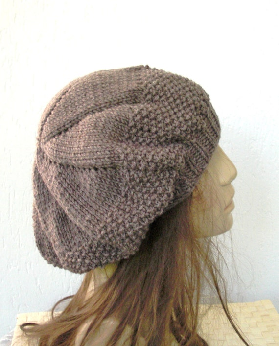 Items similar to Hand Knit Hat - Womens hat- beret in Taupe womens beret Tam ...