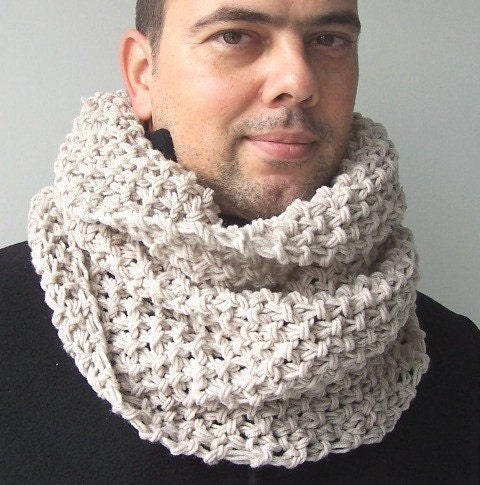 Mens Knit Patterns : Mens winter scarf Mens Cowl Scarf Snood Scarf Knit by Ebruk
