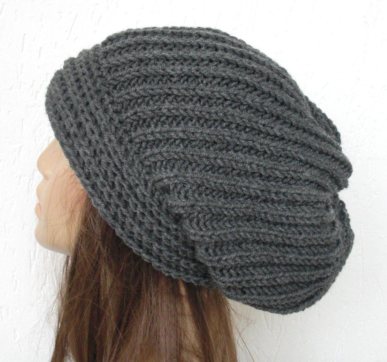 Knitting Women S Hats : Women knit winter hat slouchy beanie gray