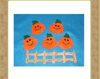 Five little Pumpkins Sitting on a Gate -Teacher Resources-  Felt Set