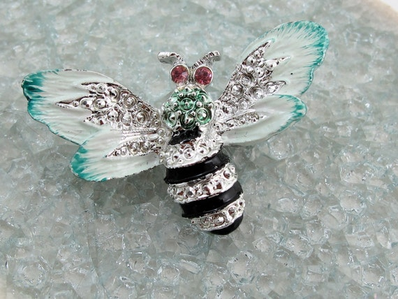 1950's Enamel and Rhinestone Bee Pin/Brooch - Signed