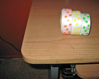 Ribbon, vintage satins polka dots, 3 rolls, one price 1950s