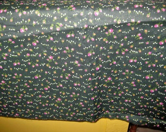 Fabric, vintage floral greens with pinks 1940s
