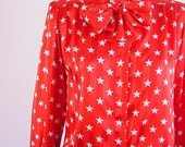 1980s Vintage Star Spangled Red Silk Blouse Ascot Bow Tie size medium to large (m-l)