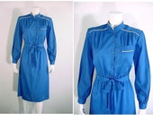Vintage 70s Silky Sapphire Blue Shirt Dress with White Piping Trim - Extra Small to Small
