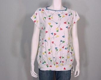80s Heart Balloon Print Top  Novelty Blouse  Oversized Slouchy Shirt
