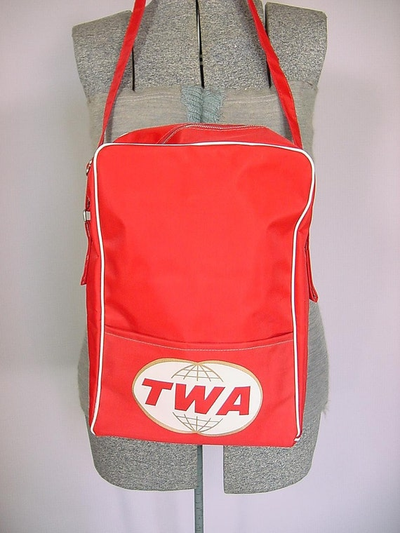 Vintage Twa Red Vinyl Passenger Airline By Bloomstreetvintage