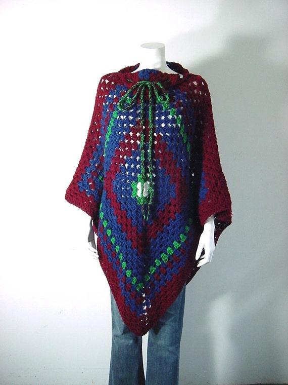vintage 70s granny square cape hand crochet. Black Bedroom Furniture Sets. Home Design Ideas
