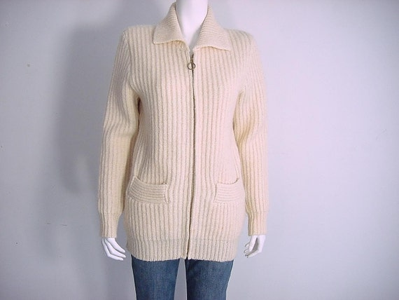 1970 Pendleton Wool Zip Front Sweater Jacket - Rib Knit - Small to Medium