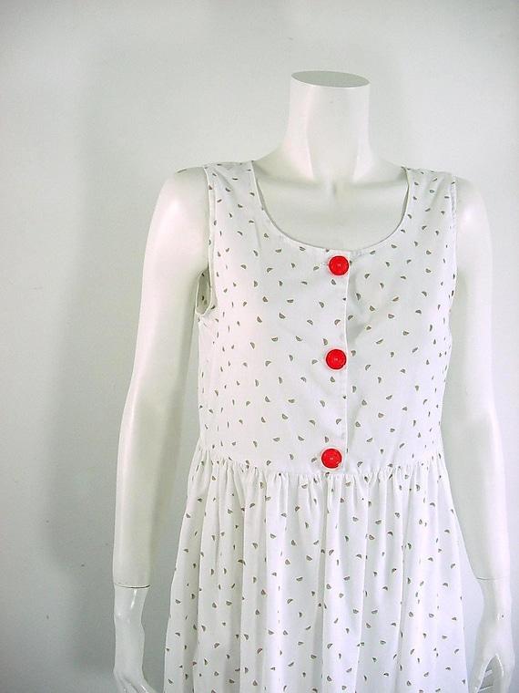 1980s Vintage Watermelon Print Baby Doll Dress