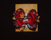 Sock Monkey Layered Boutique hair bow