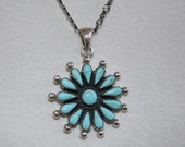 Sterling Silver, Turquoise, Daisy Shape Pendant Necklace