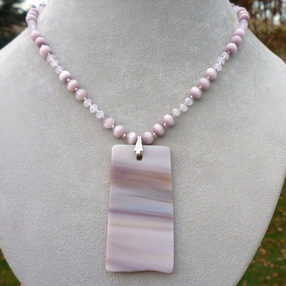ON SALE Mauve Pink Rose Quartz Art Glass Stone Pendant Necklace