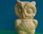 Vintage Winking Owl Cookie Jar Banana Color Clearance