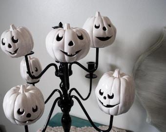 In Stock Ceramic White Jack-o-Lanterns Pumpkin