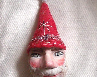 Original doll ornament . Santa 2 made by hand from paper clay (free shipping)