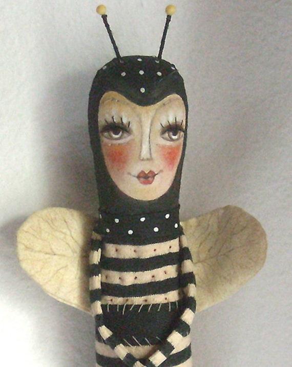 Original art Doll folk art Bee Bee doll whimsical OOAK  From miliaart