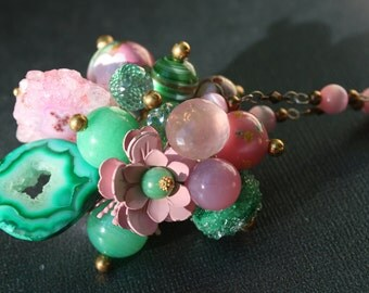 Pink & Green Floral Bouquet Necklace