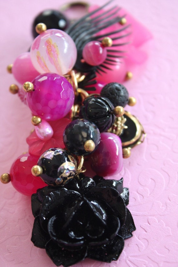 Holiday Gift: Hot Pink and Black Floral Purse Charm