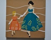 Mod Lady and Child - Teal and Orange - Original 10x10 Retro Modern Collage
