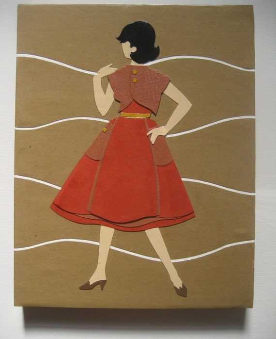 Original Retro Mod Vintage Collage Art on Canvas - Mod Lady in Red - 8x10