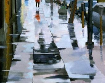 Giclee Print of Rainy Sidewalk 24 x 18