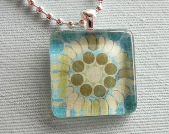 SALE - Blue, Green and White Flower Glass Tile Necklace