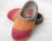 Felted slippers-house shoes-felt wool slippers-natural slippers-women slippers-Made to Order grey brown orange pink Valentines day gift