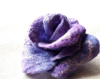 Felted rose pinback or clip accessory Made to order