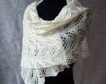 Hand knitted shawl scarf mohair wool Made to order